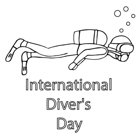 man diving with a mask. international diver day. isolated outline stock vector illustration