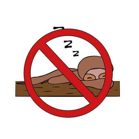 sloth no laziness. do not sleep. isolated stock vector illustration