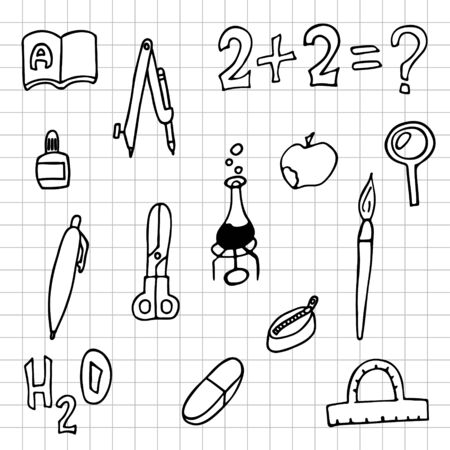 set of school things checkered sheet. doodle outline stock vector illustration