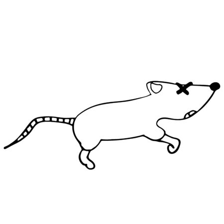 little dead mouse. isolated outline stock vector illustration