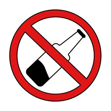 alcohol prohibition sign crossed out bottle. isolated stock vector illustration