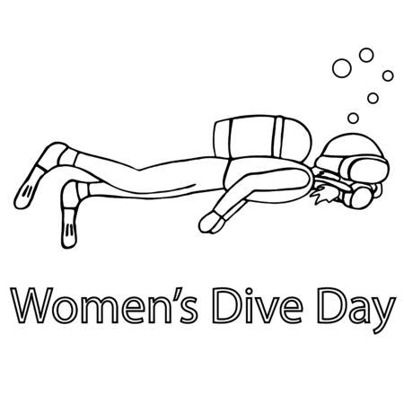woman diving with a mask. women dive day. isolated outline stock vector illustration