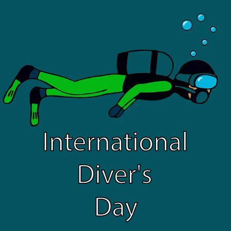 man diving with a mask. international diver day. isolated stock vector illustration