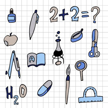set of school things checkered sheet. doodle stock vector illustration