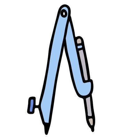 cartoon blue compass with pencil. isolated doodle stock vector illustration Ilustração