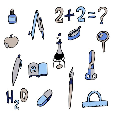 set of school things. isolated doodle stock vector illustration Illustration