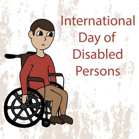 white man in a wheelchair. international day of disabled persons. cartoon stock vector illustration