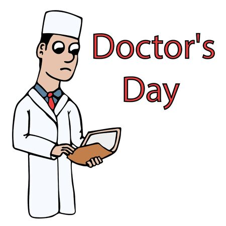 white young cartoon doctor in a coat holding a folder with a case history for doctors day. isolated stock vector illustration