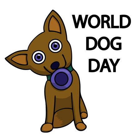 dog with a bowl in his mouth. world dog day. isolated cartoon stock vector illustration
