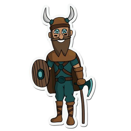 cartoon viking with ax, shield and beard sticker. White background isolated stock vector illustration