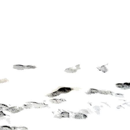 footprints human shoes silhouette in snow . Design Element . Traces of Boot . grunge texture. stock vector illustration