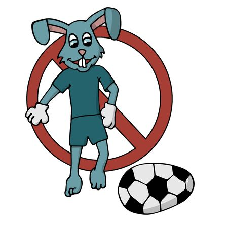 Easter bunny in a tracksuit kicks an Easter egg in the form of a soccer ball prohibition. white background isolated cartoon stock vector illustration Ilustracja