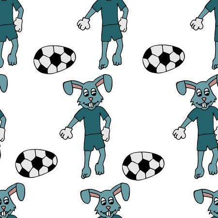 Easter bunny in a tracksuit kicks an Easter egg in the form of a soccer ball. stock seamless pattern