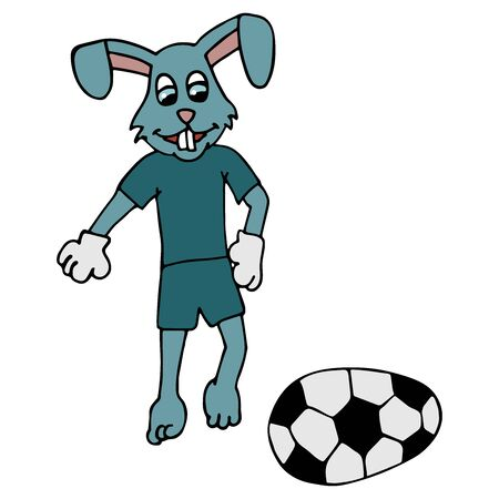 Easter bunny in a tracksuit kicks an Easter egg in the form of a soccer ball. white background isolated cartoon stock vector illustration Ilustracja