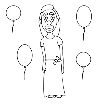 cartoon woman clown in a dress with balloons. white background isolated outline stock vector illustration