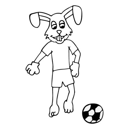 rabbit in a tracksuit kicks a soccer ball. white background isolated cartoon outline stock vector illustration