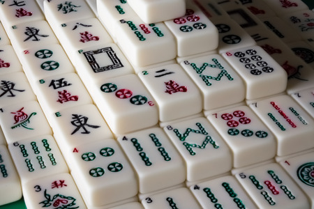 Closeup of Mahjong Solitaire in turtle formation Stok Fotoğraf