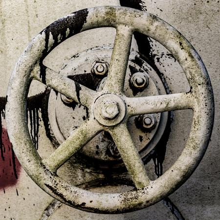 Closeup of an old derelict oil tank valve Imagens
