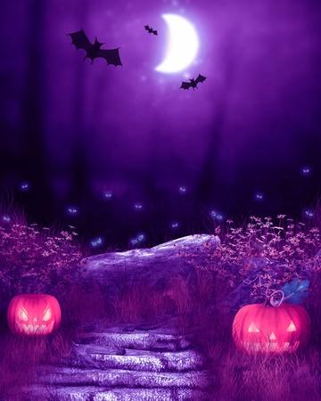 horror castle: halloween card Stock Photo