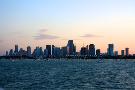 Miami Skyline with ocean photo