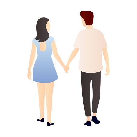 a couple holding hands stroll from back view. couple cartoon characters. romantic couple relationship in flat vector illustration.