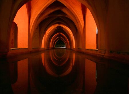 Baths at the Alcazar Palace, Seville, Spain  Los Ba�os de Do�a Mar�a de Padilla --the royal baths of Pedro the Cruels lady friend-- are found beneath the palace. photo