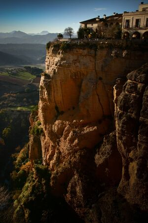 andalucia: A 150 metres (just under 500 ft) high cliff at the Ronda Gorge, Malaga, Andalucia,Spain Stock Photo