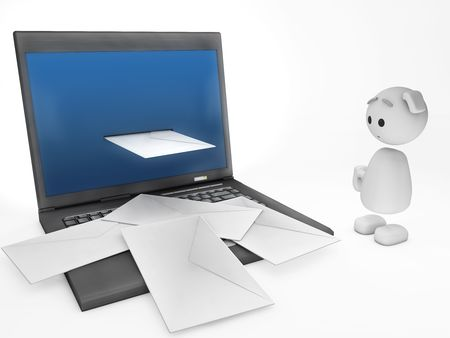 small business computer: a cute little 3D happyman stares at some emails (3D happyman isolated series) Stock Photo