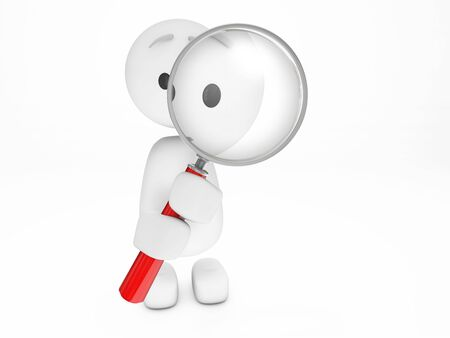 A cute little 3D Guy looking at you (3D happyman isolated series) Stock Photo - 6430847