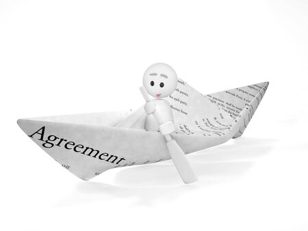 buisness: a cute 3d guy sails in a contract (3d isolated happyman series)