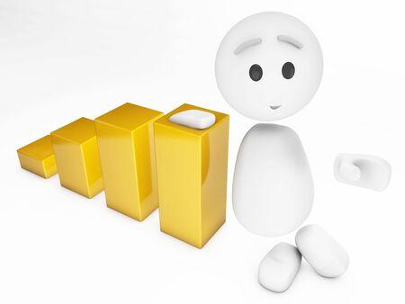 a cute 3d guy leans on a diagram (3d isolated happyman series) photo