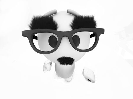 funny bearded man:  a cute 3d guy is wearing a fake mustache (3d isolated happyman series)