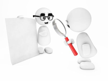 contract or policy maybe - a cute little 3D guy happyman inspects a suspicious sheet Stock Photo