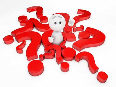 confused cartoon: a cute 3D guy encircled by problems (3D happyman isolated series) Stock Photo