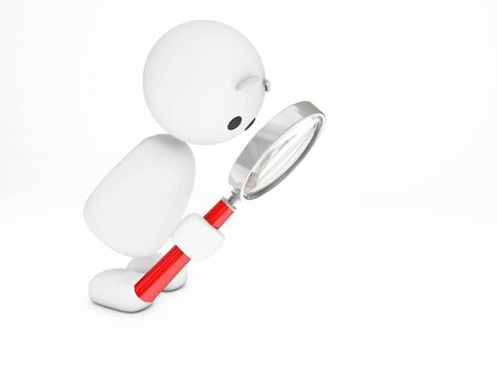 glas:  a cute 3D guy searching somehthing (3D happyman isolated series)