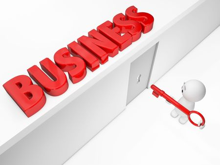 small business: a cute 3D guy reaches the business (Happyman series)