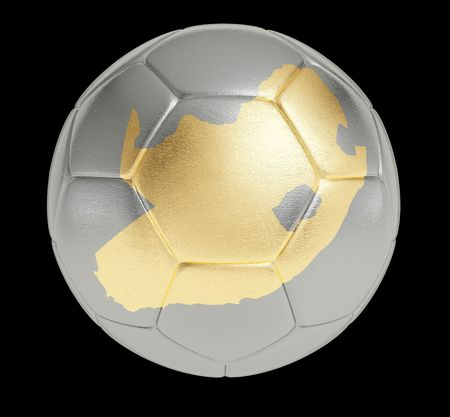 Photorealistic silver soccer ball with shape of South Africa Stock Photo - 6466721