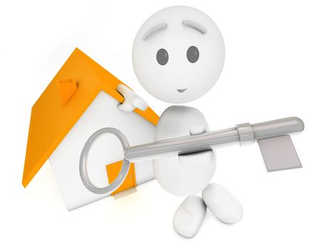 vacation home: cute 3d guy offers you the key to a house (Happyman series) Stock Photo