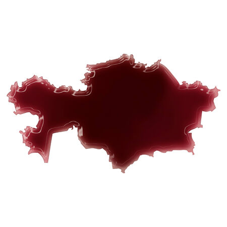 Pool of blood (or wine) that formed the shape of Kazahkstan. (series) photo