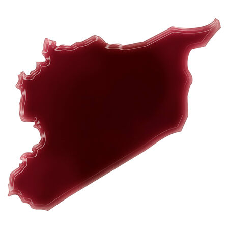 Pool of blood (or wine) that formed the shape of Syria. (series) photo