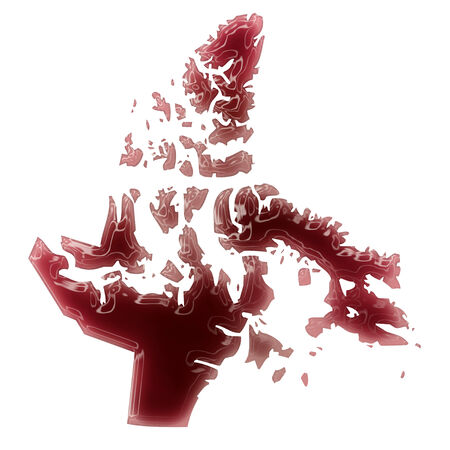 Pool of blood (or wine) that formed the shape of Nunavut. (series) photo