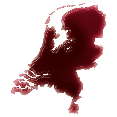Pool of blood (or wine) that formed the shape of Netherlands. (series) Stock Photo