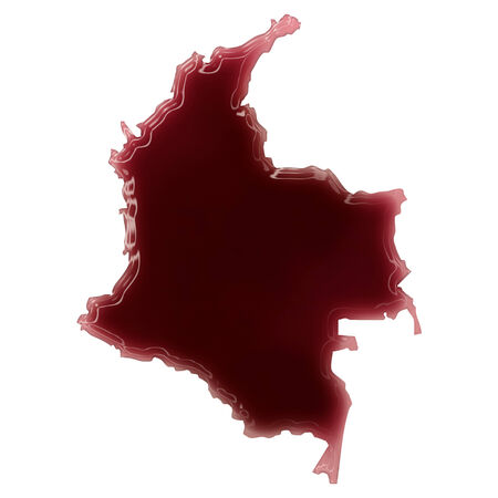 Pool of blood (or wine) that formed the shape of Colombia. (series) Stock Photo