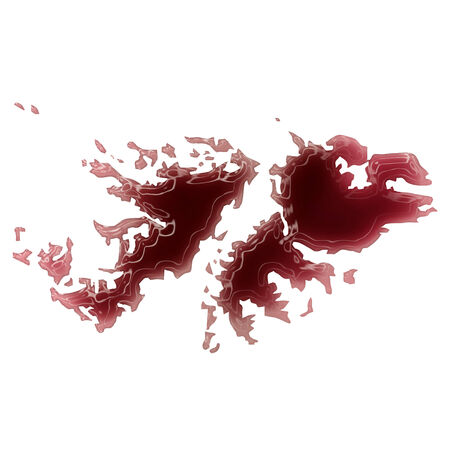 Pool of blood (or wine) that formed the shape of Falkland Islands. (series) photo