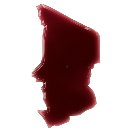 Pool of blood (or wine) that formed the shape of Chad. (series)