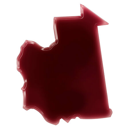 Pool of blood (or wine) that formed the shape of Mauritania. (series) Stock Photo