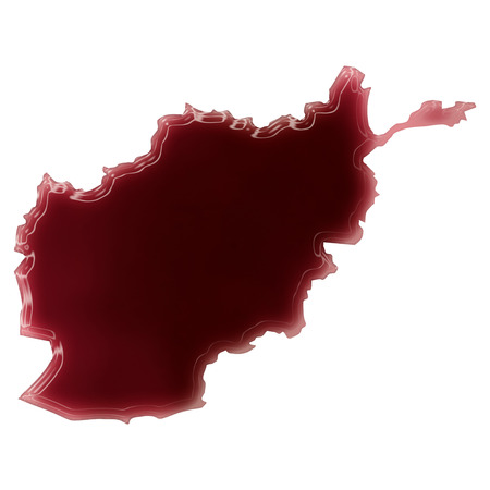 Pool of blood (or wine) that formed the shape of Afghanistan. (series) photo