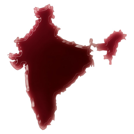 Pool of blood (or wine) that formed the shape of India. (series) photo