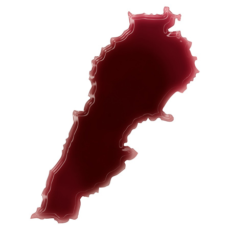 Pool of blood (or wine) that formed the shape of Lebanon. (series) photo