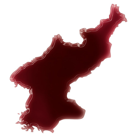 Pool of blood (or wine) that formed the shape of North Korea. (series) Stock Photo